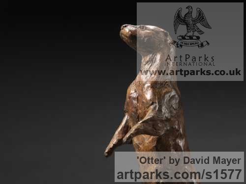 Bronze Wild Animals and Wild Life sculpture by sculptor David Mayer titled: 'Otter (Little Standing Bronze sculptures/statuettes)' - Artwork View 2