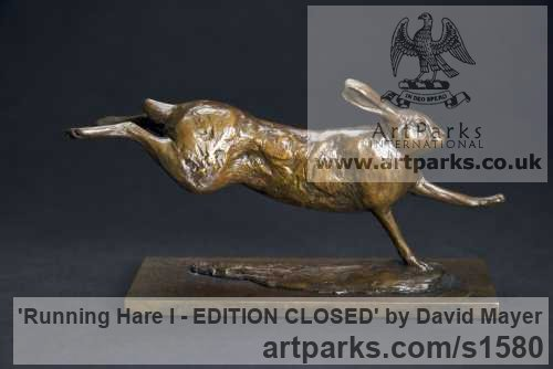 Bronze Field Sports, Game Birds and Game Animals sculpture by sculptor David Mayer titled: 'Running Hare I - SOLD OUT'