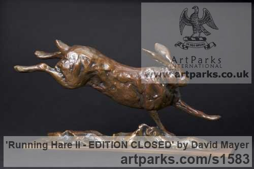 Bronze Field Sports, Game Birds and Game Animals sculpture by sculptor David Mayer titled: 'Running Hare II - SOLD OUT'
