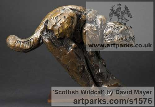Bronze Cats Wild and Big Cats sculpture by sculptor David Mayer titled: 'Scottish Wildcat (Little Bronze Prowling statuette)' - Artwork View 2