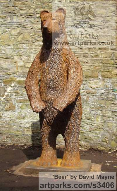 Steel Wild Animals and Wild Life sculpture by sculptor David Mayne titled: 'Bear (life size Standing Steel Outdoors garden/Yard statues/sculpture)'