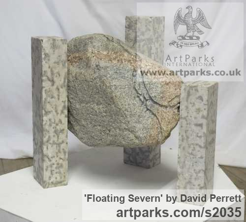 Granite, Tyndall Limestone Abstract Contemporary or Modern Outdoor Outside Exterior Garden / Yard sculpture statuary sculpture by sculptor David Perrett titled: 'Floating Severn (Small abstract stone Indoor Interior sculpture)' - Artwork View 1