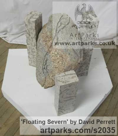 Granite, Tyndall Limestone Abstract Contemporary or Modern Outdoor Outside Exterior Garden / Yard sculpture statuary sculpture by sculptor David Perrett titled: 'Floating Severn (Small abstract stone Indoor Interior sculpture)' - Artwork View 2