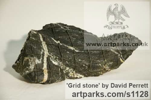 Granite Abstract Contemporary Modern Outdoor Outside Garden / Yard sculpture statuary sculpture by sculptor David Perrett titled: 'Grid stone (Copntemporary Modern abstract small Indoor sculpture)'