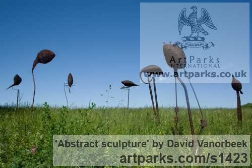 Metal Abstract Contemporary Modern Outdoor Outside Garden / Yard sculpture statuary sculpture by sculptor David Vanorbeek titled: 'abstract sculpture (Metal Outdoor garden sculpture)' - Artwork View 3