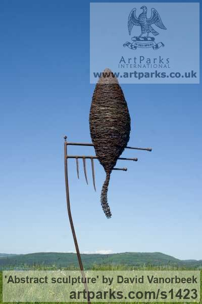 Metal Abstract Contemporary Modern Outdoor Outside Garden / Yard sculpture statuary sculpture by sculptor David Vanorbeek titled: 'abstract sculpture (Metal Outdoor garden sculpture)' - Artwork View 4