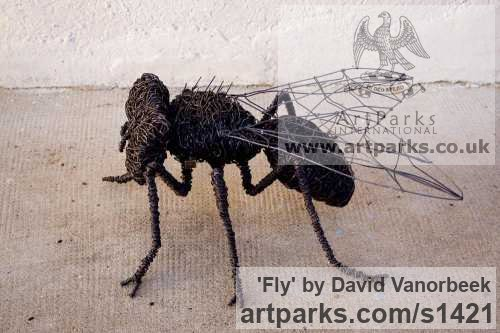 Metal Garden Or Yard / Outside and Outdoor sculpture by sculptor David Vanorbeek titled: 'Fly (Metal Contemporary Giant Insect sculpture)'