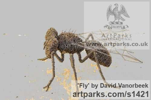 Metal Garden Or Yard / Outside and Outdoor sculpture by sculptor David Vanorbeek titled: 'Fly (Metal Contemporary Giant Insect sculpture)' - Artwork View 3