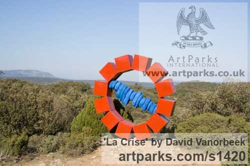 Coloured Steel Abstract Contemporary Modern Outdoor Outside Garden / Yard sculpture statuary sculpture by sculptor David Vanorbeek titled: 'La Crise (Big Metal abstract Outdoor statues)'