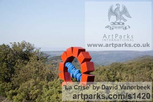Coloured Steel Abstract Contemporary Modern Outdoor Outside Garden / Yard sculpture statuary sculpture by sculptor David Vanorbeek titled: 'La Crise (Big Metal abstract Outdoor statues)' - Artwork View 3