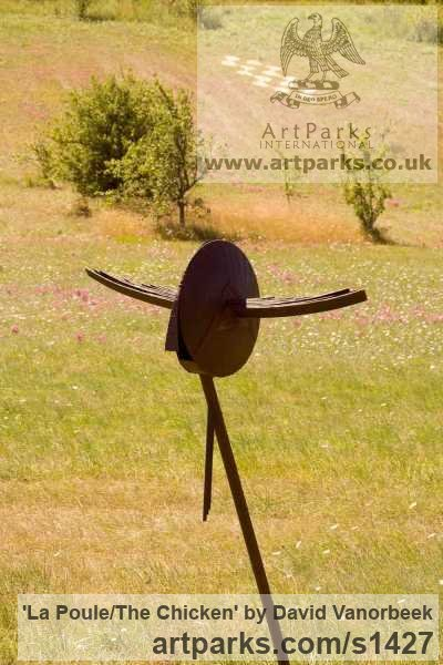 Metal Abstract Contemporary Modern Outdoor Outside Garden / Yard sculpture statuary sculpture by sculptor David Vanorbeek titled: 'La Poule/The chicken (abstract contemporary Flying Hen statues)'