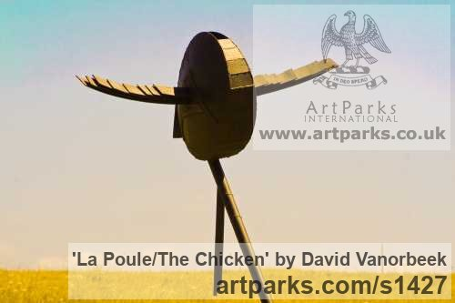 Metal Abstract Contemporary Modern Outdoor Outside Garden / Yard sculpture statuary sculpture by sculptor David Vanorbeek titled: 'La Poule/The chicken (abstract contemporary Flying Hen statues)' - Artwork View 3
