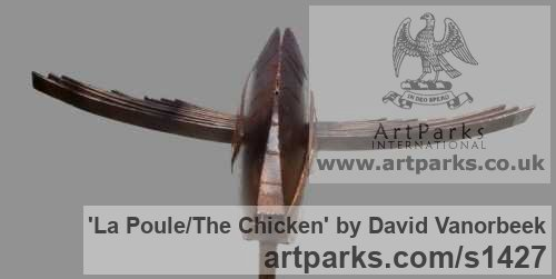 Metal Abstract Contemporary Modern Outdoor Outside Garden / Yard sculpture statuary sculpture by sculptor David Vanorbeek titled: 'La Poule/The chicken (abstract contemporary Flying Hen statues)' - Artwork View 4