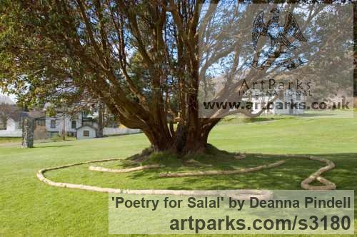 Jute; straw; black wool; salal; poetry; Garden Or Yard / Outside and Outdoor sculpture by artist Deanna Pindell titled: 'Poetry for Salal (abstract Installation Yard Meditation sculpture)' - Artwork View 1