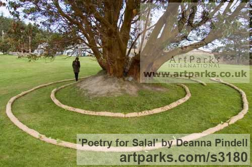 Jute; straw; black wool; salal; poetry; Garden Or Yard / Outside and Outdoor sculpture by sculptor Deanna Pindell titled: 'Poetry for Salal (abstract Installation Yard Meditation sculpture)' - Artwork View 2