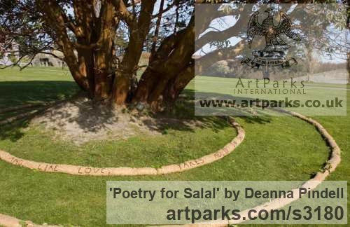 Jute; straw; black wool; salal; poetry; Garden Or Yard / Outside and Outdoor sculpture by artist Deanna Pindell titled: 'Poetry for Salal (abstract Installation Yard Meditation sculpture)' - Artwork View 3