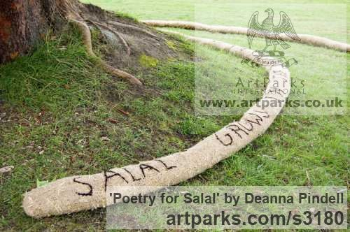 Jute; straw; black wool; salal; poetry; Garden Or Yard / Outside and Outdoor sculpture by sculptor Deanna Pindell titled: 'Poetry for Salal (abstract Installation Yard Meditation sculpture)' - Artwork View 4