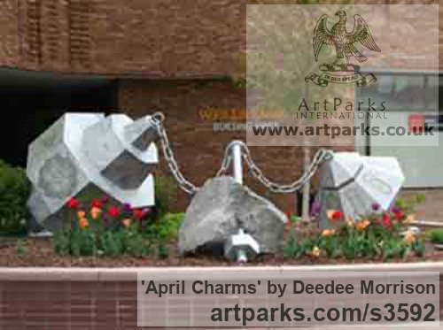 Limeston, aluminum, lexan with light Garden Or Yard / Outside and Outdoor sculpture by artist Deedee Morrison titled: 'April Charms' - Artwork View 2