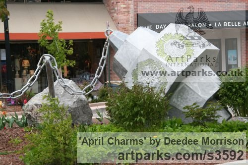Limeston, aluminum, lexan with light Garden Or Yard / Outside and Outdoor sculpture by artist Deedee Morrison titled: 'April Charms' - Artwork View 3