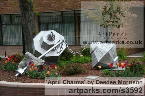 Limeston, aluminum, lexan with light Garden Or Yard / Outside and Outdoor sculpture by artist Deedee Morrison titled: 'April Charms' - Artwork View 4