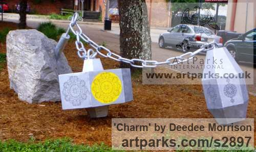 Aluminum and Limestone Garden Or Yard / Outside and Outdoor sculpture by sculptor Deedee Morrison titled: 'Charm (Linked abstract Mixed Media Commission sculpture)'