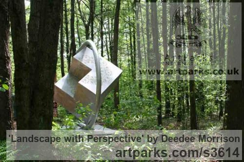 Aluminum and Lexan with Painted Interior Abstract Contemporary Modern Outdoor Outside Garden / Yard sculpture statuary sculpture by sculptor Deedee Morrison titled: 'Landscape with Perspective (Big Metal Outdoor abstract Modern statue)' - Artwork View 3
