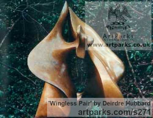 Bronze Garden Or Yard / Outside and Outdoor sculpture by sculptor Deirdre Hubbard titled: 'Wingless Pair' - Artwork View 2