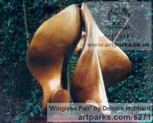 Bronze Garden Or Yard / Outside and Outdoor sculpture by sculptor Deirdre Hubbard titled: 'Wingless Pair' - Artwork View 3