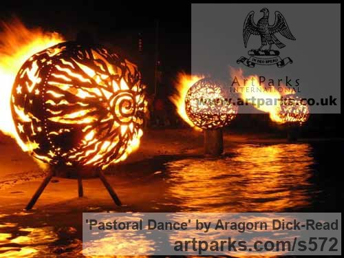 Steel / iron Garden Or Yard / Outside and Outdoor sculpture by sculptor Aragorn Dick-Read titled: 'Fireball II (Big Balls in Artistic Patterns Outdoor sculpture)' - Artwork View 2