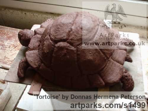 Terracotta Clay Wild Animals and Wild Life sculpture by sculptor Donnas Hermena Peterson titled: 'Tortoise (Life Like lLfe Size ceramic sculpture)'