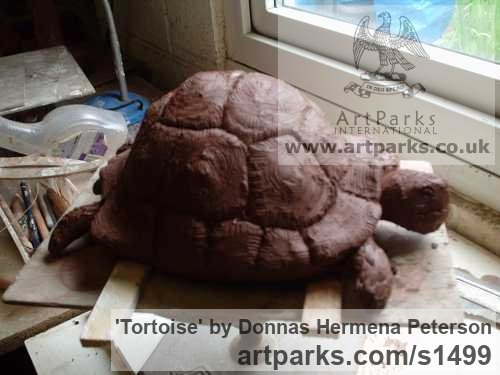 Terracotta Clay Wild Animals and Wild Life sculpture by sculptor Donnas Hermena Peterson titled: 'Tortoise (Life Like lLfe Size ceramic sculpture)' - Artwork View 2