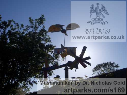 Mixed Media Garden Or Yard / Outside and Outdoor sculpture by sculptor Dr. Nicholas Gold titled: 'Mushmumkin' - Artwork View 3