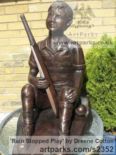 Bronze Resin Garden Or Yard / Outside and Outdoor sculpture by sculptor Dreene Cotton titled: 'Rain Stopped Play (Boy Child nearly Life-Size garden sculpture/statue)' - Artwork View 1