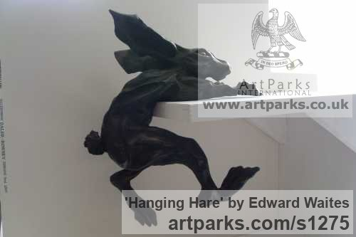 Bronze resin Field Sports, Game Birds and Game Animals sculpture by sculptor Edward Waites titled: 'Hanging Hare' - Artwork View 4