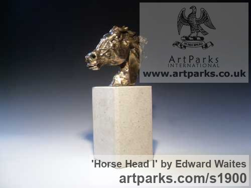 Bronze Horse Sculpture / Equines Race Horses Pack HorseCart Horses Plough Horsess sculpture by sculptor Edward Waites titled: 'Horse Head I (Small bronze Horse Head Bust sculpturette figurine)' - Artwork View 1