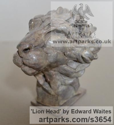 Bronze Cats Wild and Big Cats sculpture by sculptor Edward Waites titled: 'Lion Head (Bronze Stylised abstract Contemporary Little statue Bust)'