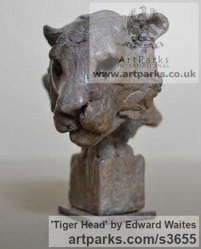 Bronze Cats Wild and Big Cats sculpture by sculptor Edward Waites titled: 'Tiger Head (Small/Little Mask/Face/Trophy statuette/ornament/figurine)'