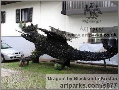 Steel Animal Abstract Contemporary Modern Stylised Minimalist sculpture by sculptor Blacksmith Kristan titled: 'Dragon (Giant Recycled Metal Monster sculptures)' - Artwork View 3