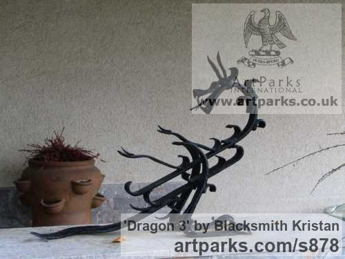 Steel Abstract Contemporary Modern Outdoor Outside Garden / Yard sculpture statuary sculpture by sculptor Blacksmith Kristan titled: 'Dragon 3 (Small garden Metal Commission sculptures)'