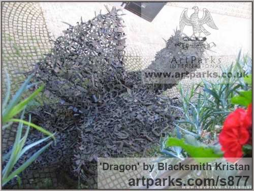 Steel Animal Abstract Contemporary Modern Stylised Minimalist sculpture by sculptor Blacksmith Kristan titled: 'Dragon (Giant Recycled Metal Monster sculptures)' - Artwork View 4