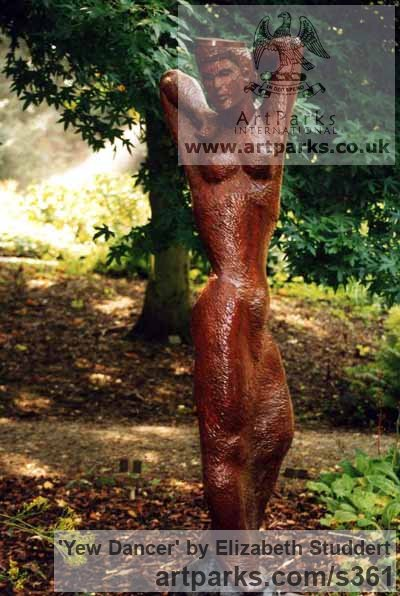 Yew Wood Garden Or Yard / Outside and Outdoor sculpture by sculptor Elizabeth Studdert titled: 'Yew Dancer (Carved Wood nude Woman sculptures)'
