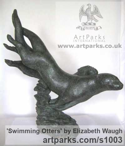 Foundry Bronze Wild Animals and Wild Life sculpture by sculptor Elizabeth Waugh titled: 'Swimming Otters (Small Little Bronze Pair Playing Cavorting statuette)' - Artwork View 3