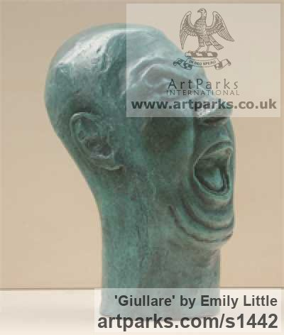 Bronze Male Men Youths Masculine sculpturettes figurines sculpture by sculptor Emily Little titled: 'Giullare (Amusing Bald Theatrical Caricature Bust statues)'