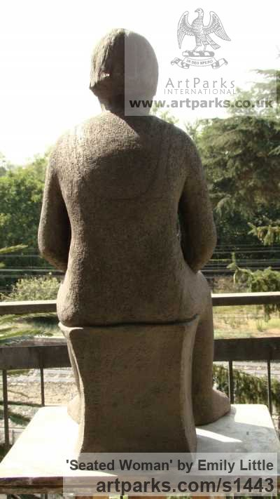 Semi-refractory clay Garden Or Yard / Outside and Outdoor sculpture by sculptor Emily Little titled: 'Seated Woman (Half Size Seated Country Woman statues)' - Artwork View 4