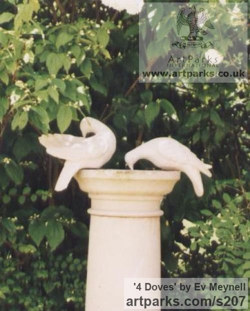 Re-constituted stone Varietal Mix of Bird Sculptures or sculpture by sculptor Ev Meynell titled: '4 Doves' - Artwork View 2