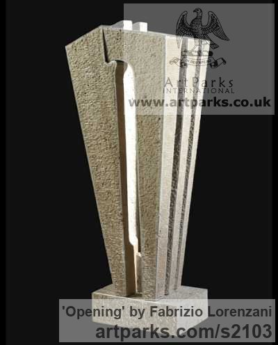 Stone travertine Abstract Contemporary or Modern Outdoor Outside Exterior Garden / Yard Sculptures Statues statuary sculpture by artist Fabrizio Lorenzani titled: 'Opening (Modern Contemporary abstract stone Carving statues)'