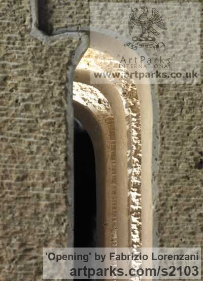 Stone travertine Abstract Contemporary or Modern Outdoor Outside Exterior Garden / Yard sculptures statuary sculpture by sculptor Fabrizio Lorenzani titled: 'Opening (Modern Contemporary abstract stone Carving sculptures)' - Artwork View 2
