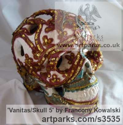 Alpha plaster/indian fabric Mask, Wall Hung Faces and Part Heads sculpture by sculptor Francony Kowalski titled: 'Vanitas/Skull 5 (Modern Encrusted Mosaic Skull sculptures)'