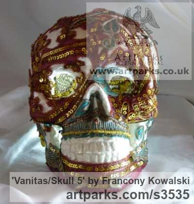 Alpha plaster/indian fabric Mask, Wall Hung Faces and Part Heads sculpture by sculptor Francony Kowalski titled: 'Vanitas/Skull 5 (Modern Encrusted Mosaic Skull sculptures)' - Artwork View 2