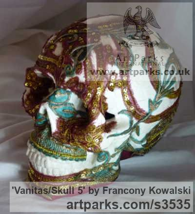 Alpha plaster/indian fabric Mask, Wall Hung Faces and Part Heads sculpture by sculptor Francony Kowalski titled: 'Vanitas/Skull 5 (Modern Encrusted Mosaic Skull sculptures)' - Artwork View 3